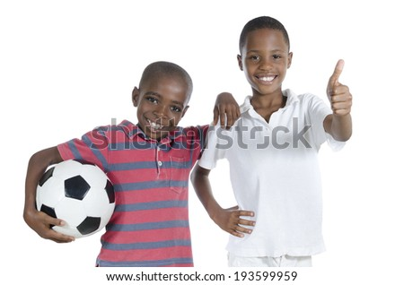 Two african boys with foot ball, Studio Shot, isolated - stock photo