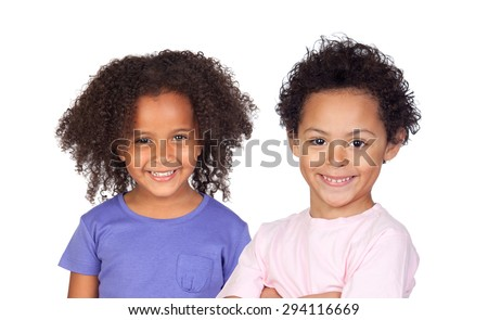 Two Afro-American children isolated on a white background - stock photo