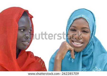 Two Afro beauties wearing a veil, isolated  - stock photo