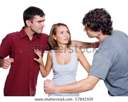 Two aggressive men fight for the woman - isolated over white background - stock photo