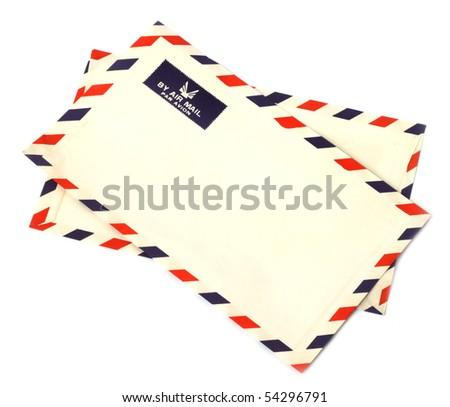 Two airmail envelopes on white background - stock photo