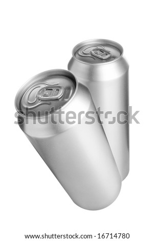 Two aluminium beer cans isolated over white background - stock photo
