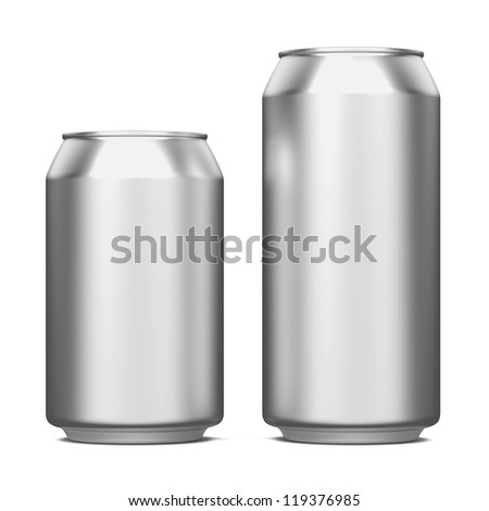 Two Aluminum Cans Isolated on White. - stock photo
