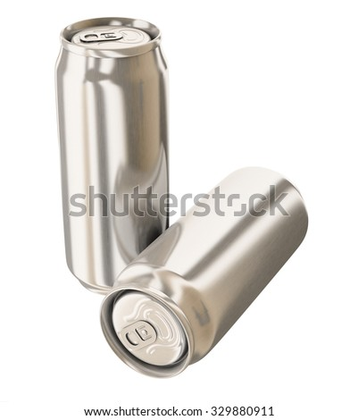 Two aluminum cans isolated on white - stock photo