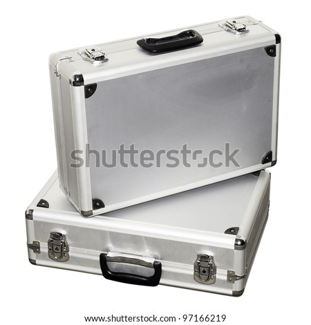 Two aluminum suitcases isolated on a white background