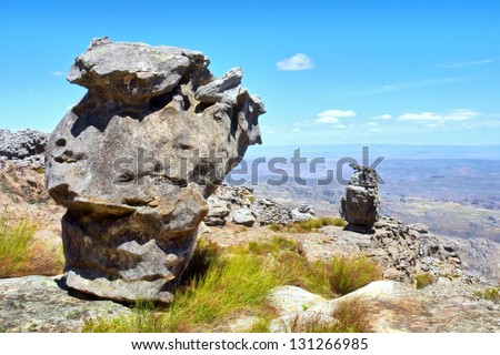 Two amazing rock formations. Shot in Krakadouw, Cederberg Mountains, near Clanwilliam, Western Cape, South Africa. - stock photo