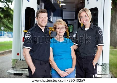 Two Ambulance workers - stock photo