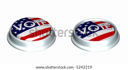 Two American Flag Vote buttons. One in the up position and the other in the depressed position. Isolated on a white background. - stock photo