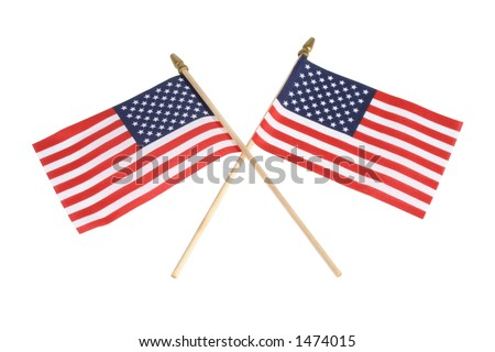 Two American flags, criss-crossed, isolated over white