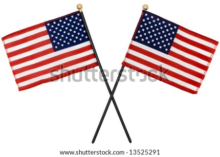 Two American flags crossing each other with selection path - stock photo