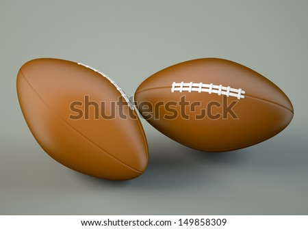 Two american football balls on grey bacgrkound. 3d illustration