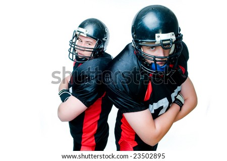 Two American football players, isolated on white background - stock photo