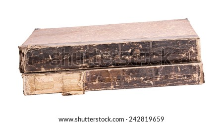 Two ancient books on a white background - stock photo