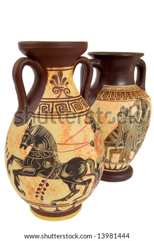 two ancient greek vases isolated over white - stock photo