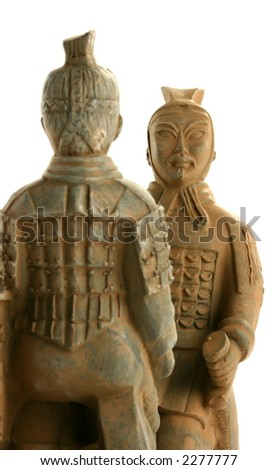 Two ancient traditional chinese warriors facing each other - stock photo