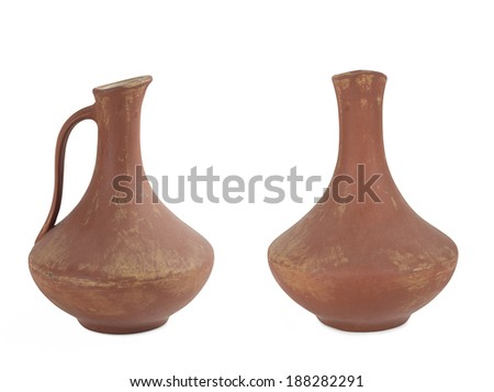 two ancient wine jug isolated on white background.
