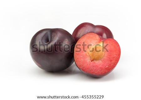 two and a half plum isolated on white background