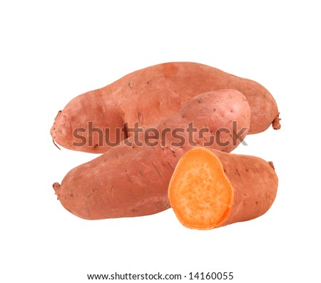 Two and a half yams isolated on white