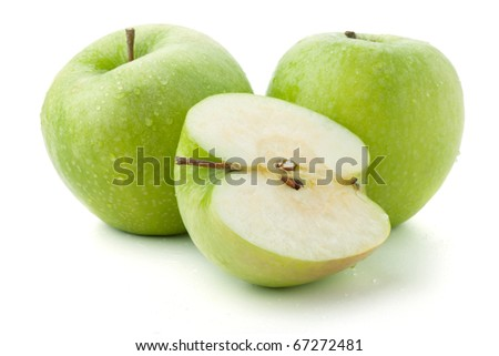 Two and half ripe apples. Isolated on white - stock photo