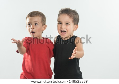 Two and three years old with cute gestures - stock photo