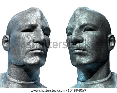 Two Androids Look To The Future 13 - stock photo