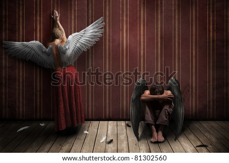 Two angels, man and woman - stock photo