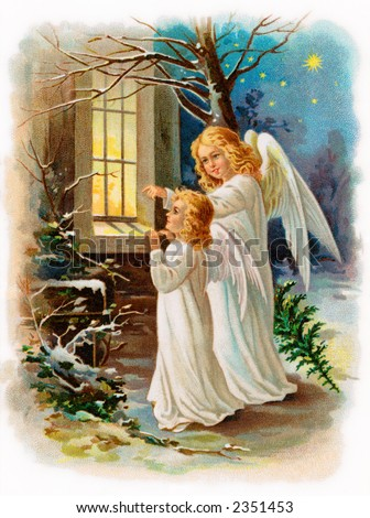 Two angels outside a cottage window on Christmas eve - an early 1900's vintage illustration (compare to number 2308625) - stock photo