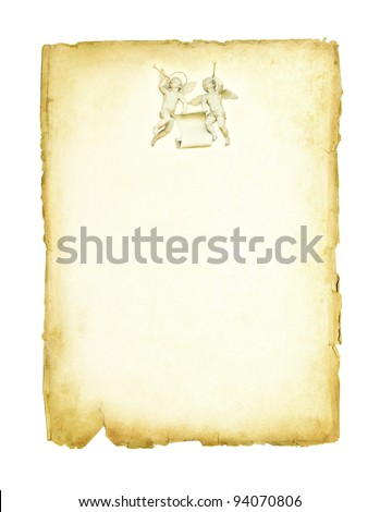 Two angels with trumpet on the old paper background. Holiday composition on the old page. - stock photo