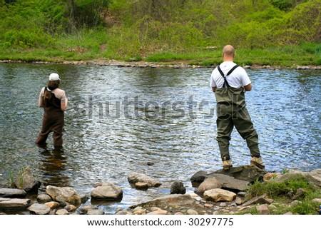 Two anglers on the Farmington River - stock photo