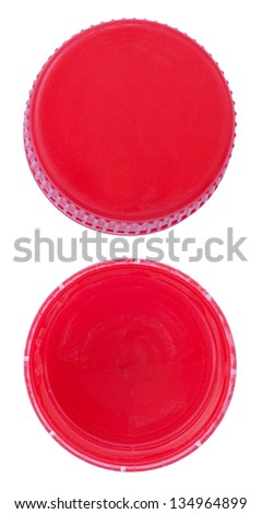 Two angles of a red plastic bottle cap. One of the top side and one of the bottom side. Isolated on white background. - stock photo