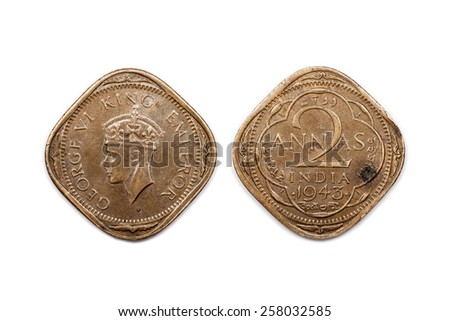 Two Annas coin from India dated 1943 - stock photo