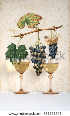two antique glasses of white wine background grape cluster decorated, romantic moment with flowers rose, natural light, vertical photo - stock photo