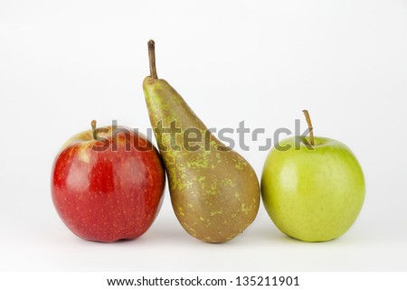 two apple and pear isolated on white background - stock photo