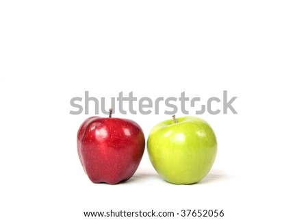 Two apples in a high key setting. - stock photo