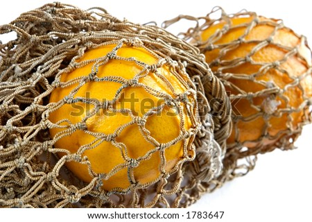 Two apples in vintage string-bag - stock photo