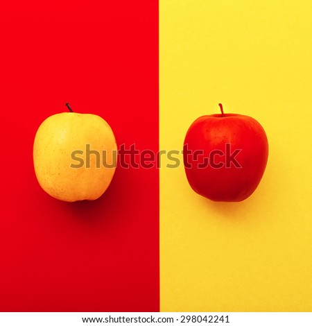 Two Apples on bright backgrounds.  Geometry  Minimal style - stock photo