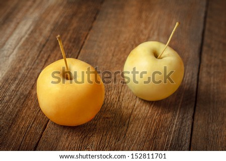 Two Apples on Tabletop - stock photo