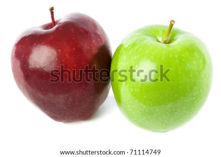 Two apples, Red Delicious and Granny Smith, isolated on white background with clipping path.