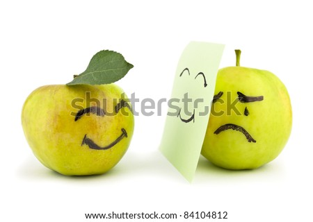 Two apples, smiling and crying on white. Concept - stock photo