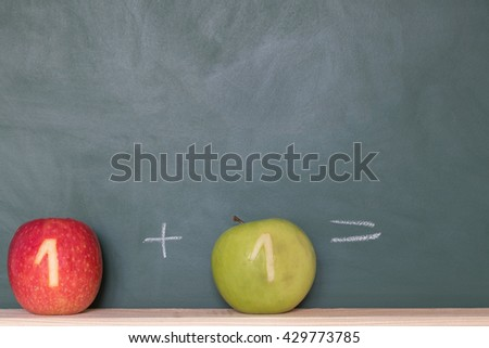 two apples with a number in front of a blackboard - stock photo