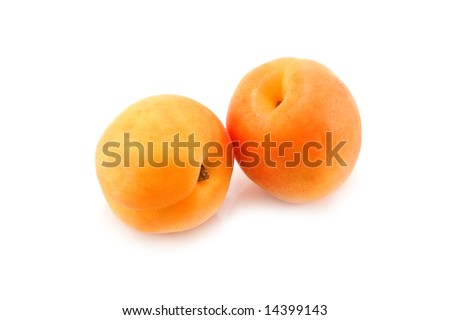 two apricot isolated on white - stock photo