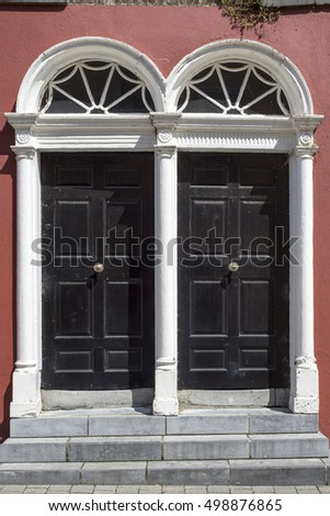 two arched georgian doors in kilkenny city ireland