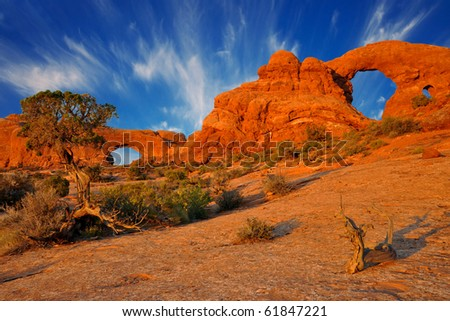 Two arches in Arches National Park, Utah. - stock photo