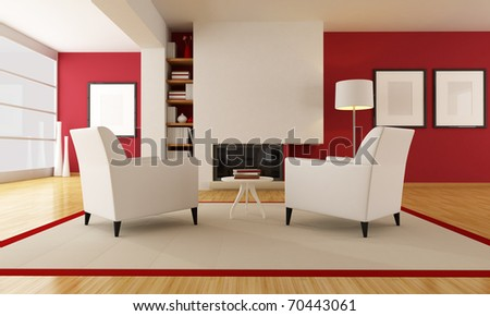 two armchair in front a minimalist fireplace - rendering - stock photo