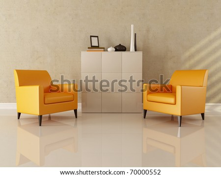 two armchair in modern lounge - stock photo