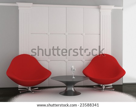 two armchairsand table in the living room (3D)
