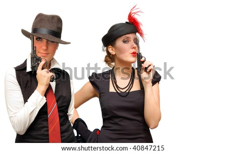 Two armed beautiful girls isolated over white - stock photo