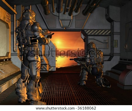 Two armoured space marines about to disembark from their spaceship onto the surface of a red planet, 3d digitally rendered illustration - stock photo