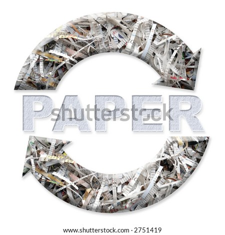 Two arrow paper recycling symbol - stock photo