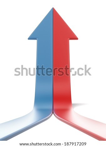 two arrows grow up together - stock photo